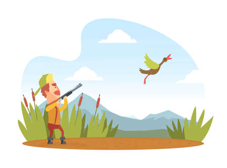 Man Hunter with Shotgun Hunting Duck, Funny Hunter Character Wearing Khaki Clothes and Hat with Rifle Cartoon Vector Illustration Illustration