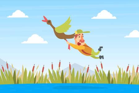 Funny Man Hunter Character Flying with Duck Bird Cartoon Vector Illustration Ilustração