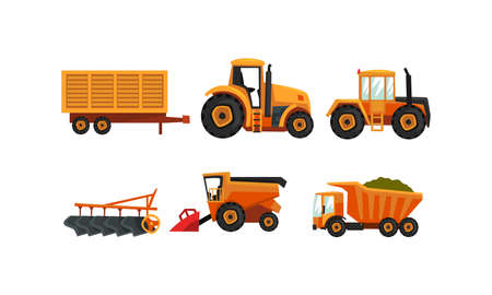 Agricultural Machinery Set, Modern Farm Vehicles for Land Agricultural Processing, Tractor, Plow, Truck Flat Style Vector Illustration