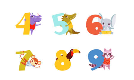 Anniversary Numbers with Cute Animals Set, Hippo, Crocodile, Elephant, Monkey, Toucan, Raccoon Cartoon Style Vector Illustration
