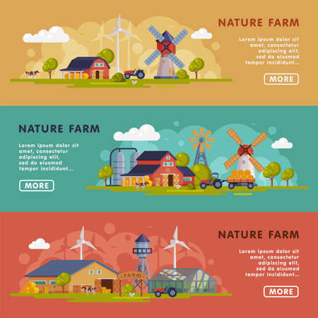 Nature Farm Landing Page Templates Set, Summer Farm Landscape, Rural Scenery Website, Homepage, Agriculture and Farming Concept Vector Illustration