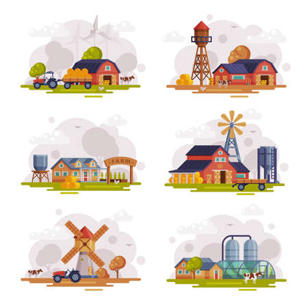 Farm Scenes Set, Autumn Rural Landscape, Agriculture and Farming Concept Cartoon Vector Illustration Vecteurs