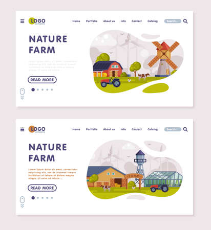 Nature Farm Landing Page, Summer Farm Landscape, Rural Scenery, Fresh Farm Products Website, Homepage Vector Illustration