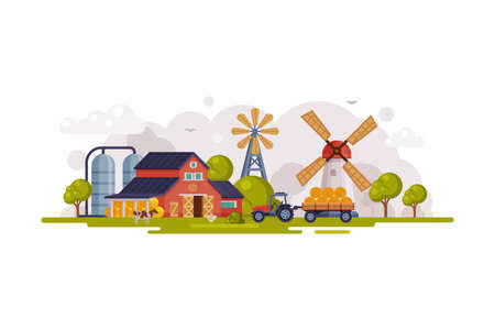 Farm Scene with Red Barn House, Windmill and Wind Turbine, Summer Rural Landscape, Agriculture and Farming Concept Cartoon Vector Illustration