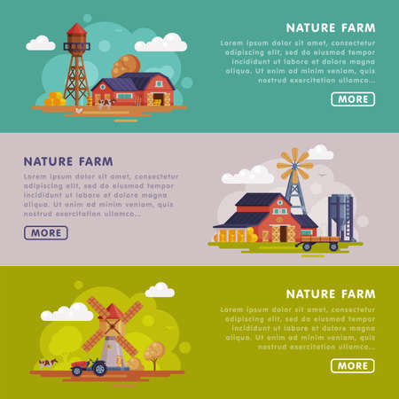 Nature Farm Landing Page Templates Set, Summer Farm Landscape, Rural Scenery Website, Homepage Vector Illustration