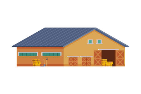 Wooden Barn for Keeping Hay and Agricultural Equipment, Traditional Wooden Agricultural Building Cartoon Vector Illustration