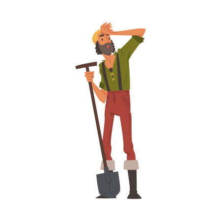 Male Prospector Standing with Shovel, Bearded Gold Miner Character Wearing Vintage Clothes Cartoon Style Vector Illustration Illusztráció