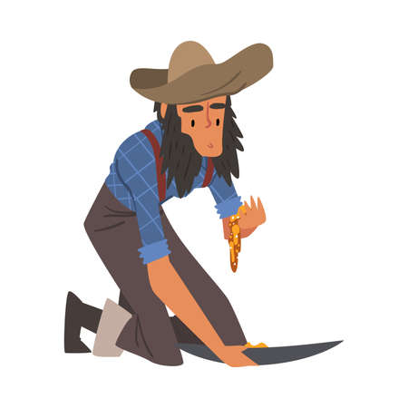 Male Prospector, Bearded Gold Miner Character Wearing Vintage Clothes Panning Golden Sand and Pills Cartoon Style Vector Illustration