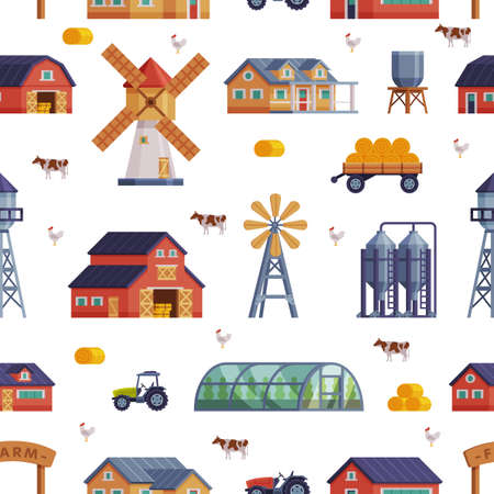 Farm Related Items Seamless Pattern, Country Objects Endless Repeating Print for Fabric, Wrapping Paper, Background Design Vector Illustration Stock Illustratie
