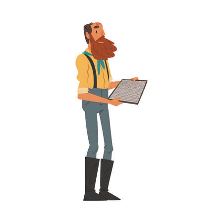 Male Prospector with Sieve for Sifting Golden Sand and Prills, Bearded Gold Miner Wild West Character Wearing Vintage Clothes Cartoon Style Vector Illustration