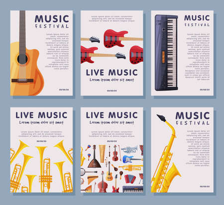 Live Music Festival Banner Tempates Set, Advertisement Poster, Brochure, Flyer, Invitation Card with Orchestral Musical Instruments Vector Illustration