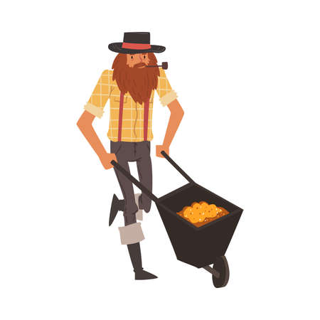 Male Prospector with Wheelbarrow full of Gold, Bearded Gold Miner Character Wearing Vintage Clothes and Hat Smoking Pipe Cartoon Style Vector Illustration