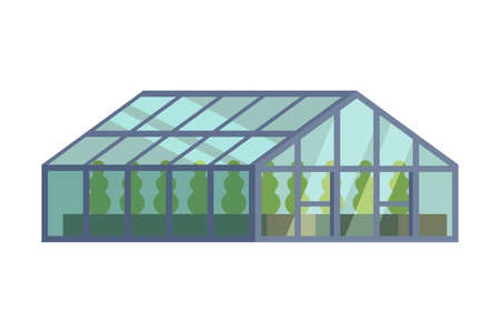 Greenhouse with Glass Walls, Agricultural Building Cartoon Vector Illustration