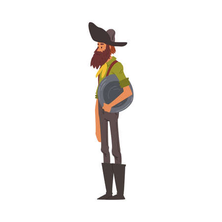 Male Prospector with Pan, Mature Bearded Gold Miner Character Wearing Vintage Clothes Cartoon Style Vector Illustration