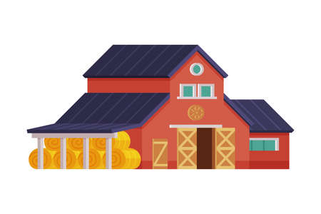 Red House Barn with Hay Bales, Traditional Wooden Agricultural Building Cartoon Vector Illustration