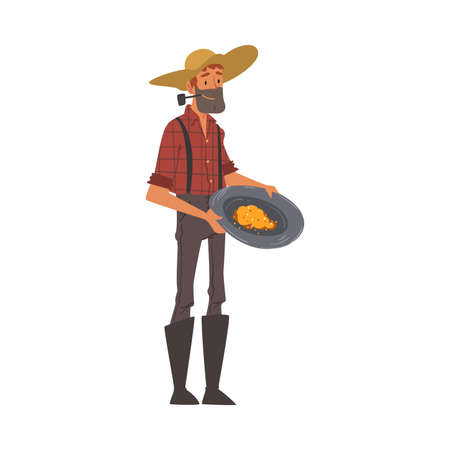 Male Prospector, Bearded Gold Miner Character Wearing Vintage Clothes and Hat Panning Golden Sand and Prills Cartoon Style Vector Illustration