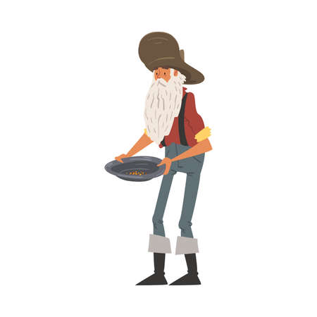 Male Prospector Holding Pan with Golden Sand and Pills, Mature Bearded Gold Miner Wild West Character Wearing Vintage Clothes Cartoon Style Vector Illustration Иллюстрация