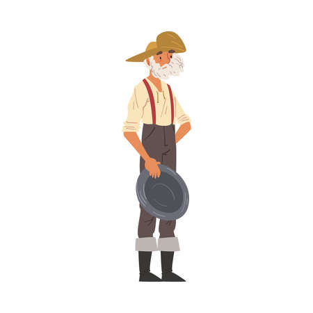Male Prospector Standing with Pan, Mature Bearded Gold Miner Wild West Character Wearing Vintage Clothes Cartoon Style Vector Illustration