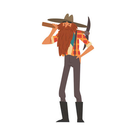 Male Prospector Standing with Pickaxe, Bearded Gold Miner Character Wearing Vintage Clothes Cartoon Style Vector Illustration