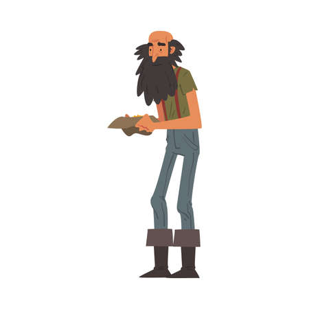 Male Prospector Holding Hat full of Golden Sand and Prills, Bearded Gold Miner Wild West Character Wearing Vintage Clothes Cartoon Style Vector Illustration Иллюстрация