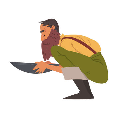 Male Prospector, Bearded Gold Miner Character Panning Golden Sand and Pills Cartoon Style Vector Illustration on White Background Vecteurs