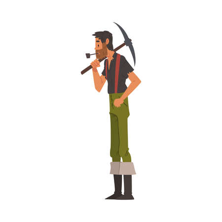 Male Prospector with Pickaxe, Bearded Gold Miner Wild West Character Wearing Vintage Clothes Smoking Pipe Cartoon Style Vector Illustration Ilustracja