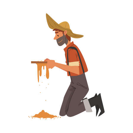 Male Prospector, Bearded Gold Miner Character Wearing Vintage Clothes and Hat Standing on his Knees and Panning Golden Sand and Pills Cartoon Style Vector Illustration