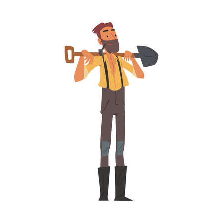 Male Prospector Standing with Shovel, Bearded Gold Miner Wild West Character Wearing Vintage Clothes Cartoon Style Vector Illustration Illusztráció