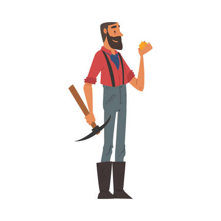 Male Prospector with Pickaxe, Bearded Gold Miner Wild West Character Wearing Vintage Clothes Cartoon Style Vector Illustration