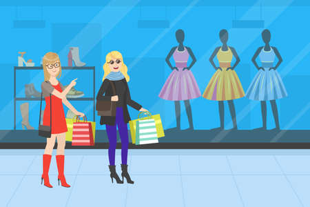 Two Young Women Taking Part in Seasonal Sale at Store or Mall, Girls Carrying Shopping Bags with Purchases, Vector Illustration