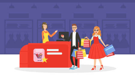 Young Man and Woman Taking Part in Seasonal Sale at Store or Mall, Couple Carrying Shopping Bags with Purchases Vector Illustration
