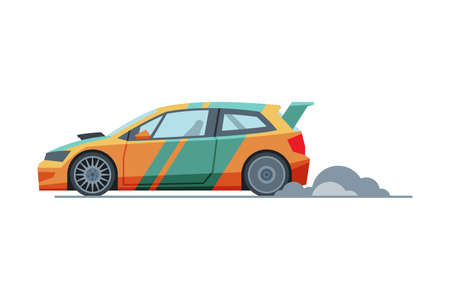 Sport Racing Car, Side View, Fast Motor Racing Vehicle Vector Illustration