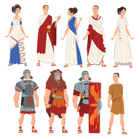 Roman Men and Women in Traditional Clothes Collection, Ancient Rome Citizens and Legionnaires Characters Vector Illustration