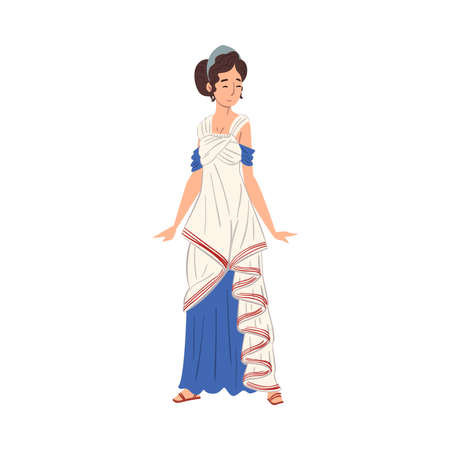 Roman Woman in Traditional Clothes, Ancient Rome Citizen Character in White and Blue Tunic And Sandals Vector Illustration