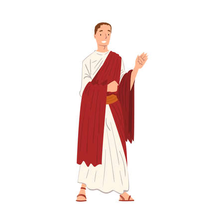 Roman Emperor in Traditional Clothes, Ancient Rome Citizen Character in Red Toga and White Tunic And Sandals Vector Illustration