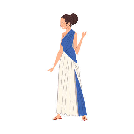 Beautiful Roman Woman in Traditional Clothes, Ancient Rome Citizen Character in Tunic And Sandals Vector Illustration Illusztráció