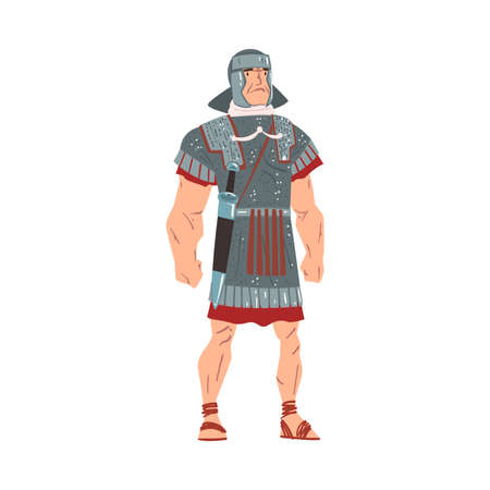 Ancient Rome Warrior, Male Roman Legionnaire or Soldier Character Vector Illustration Vettoriali