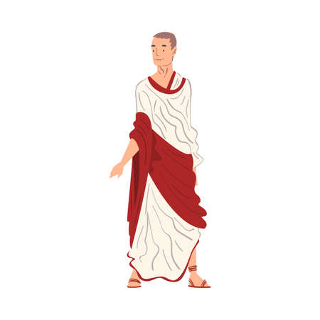 Roman Man in Traditional Clothes, Ancient Rome Citizen Character in White and Red Tunic And Sandals Vector Illustration