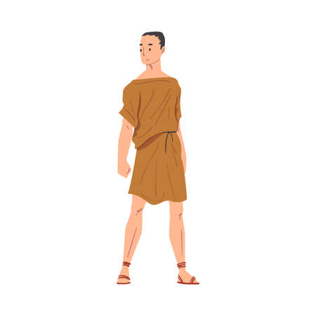 Roman Man in Traditional Clothes, Ancient Rome Plebeian Citizen Character in Tunic And Sandals Vector Illustration Illusztráció