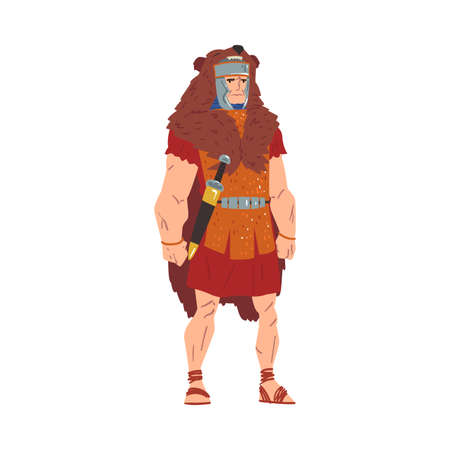 Ancient Rome Warrior, Male Roman Legionnaire Character in Bear Skin with Sword Vector Illustration Vettoriali