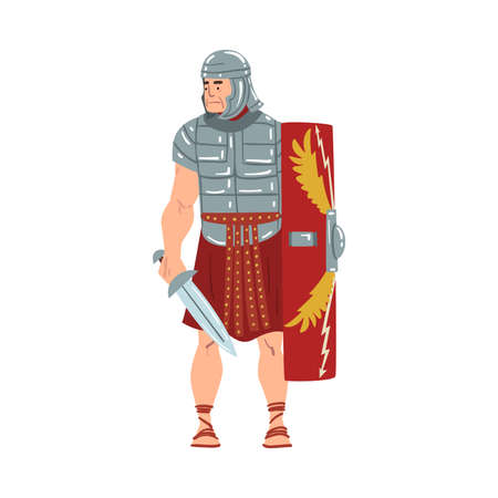 Ancient Rome Warrior, Male Roman Legionnaire or Soldier Character with Sword and Shield Vector Illustration