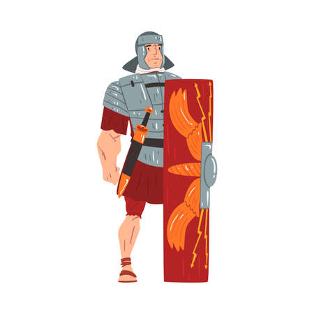 Ancient Rome Warrior, Male Roman Legionnaire Character with Sword and Shield Vector Illustration