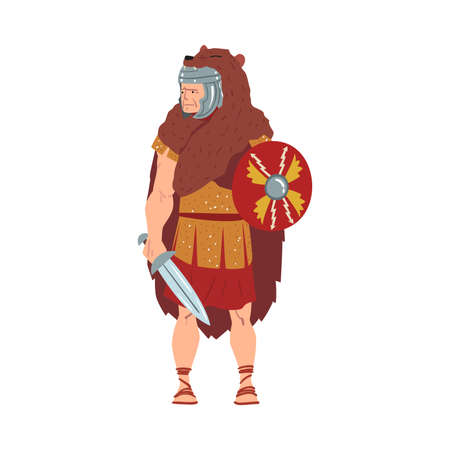 Ancient Rome Warrior, Male Roman Legionnaire or Soldier Character in Bear Skin with Sword and Shield Vector Illustration Векторная Иллюстрация