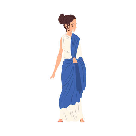 Beautiful Roman Woman in Traditional Clothes, Ancient Rome Citizen Character in White and Blue Tunic And Sandals Vector Illustration Illusztráció