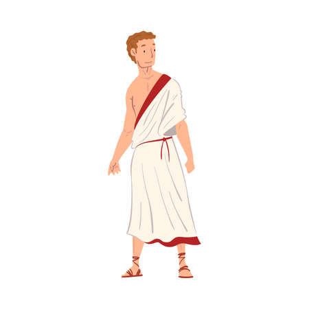 Roman Man in Traditional Clothes, Ancient Rome Citizen Character in White Tunic And Sandals Vector Illustration