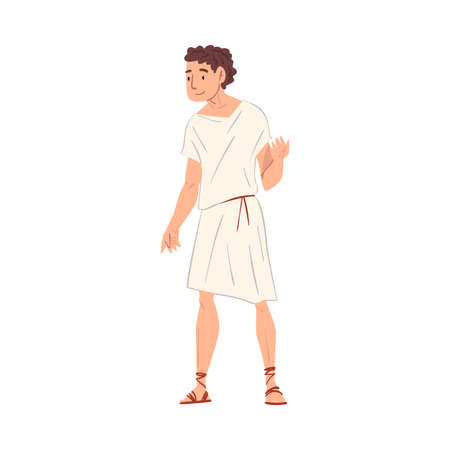 Young Roman Man in Traditional Clothes, Ancient Rome Citizen Character in White Tunic And Sandals Vector Illustration