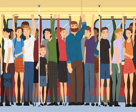 Different People Standing Inside Crowded Subway, Passengers Using Modern City Public Transport Vector Illustration