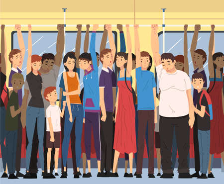 Different People Standing Inside Crowded Subway Holding Handrails, Passengers Using City Public Transport Vector Illustration