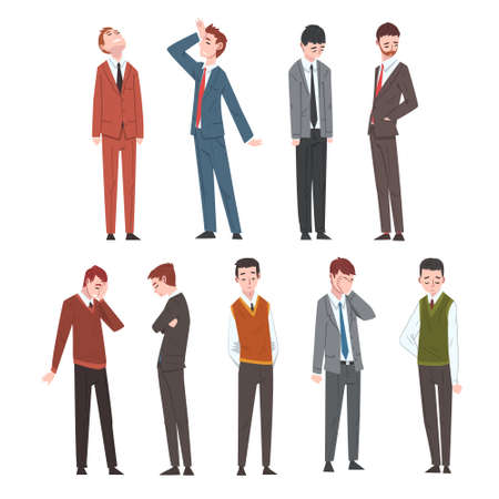 Sad Business People Set, Depressed Unhappy Office Workers Characters in Business Clothes, Tired or Exhausted Managers Vector Illustration