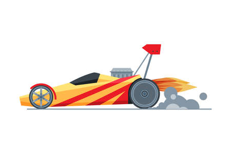 Sport Racing Car, Side View, Fast Motor Racing Bolid Vector Illustration on White Background Çizim
